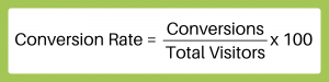 Conversion Rate = (Conversions/Total Visitors)x100